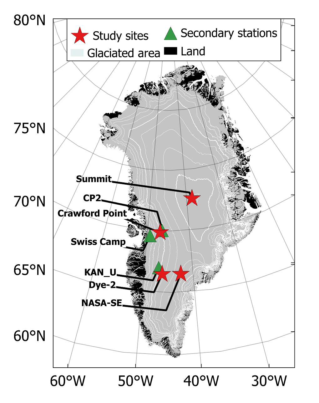 Communicating Science Glacier Bytes Displaying 20gt Images For Solution Example Figure 1 Locations Of The Four Study Sites On Greenland Ice Sheets High Elevation Firn Plateau